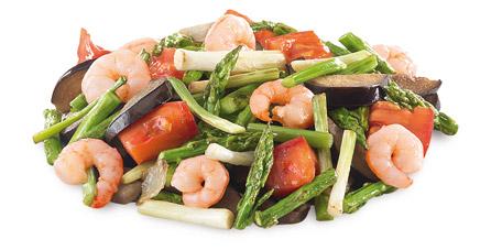 Parrillada-Grill Verduras con gambas